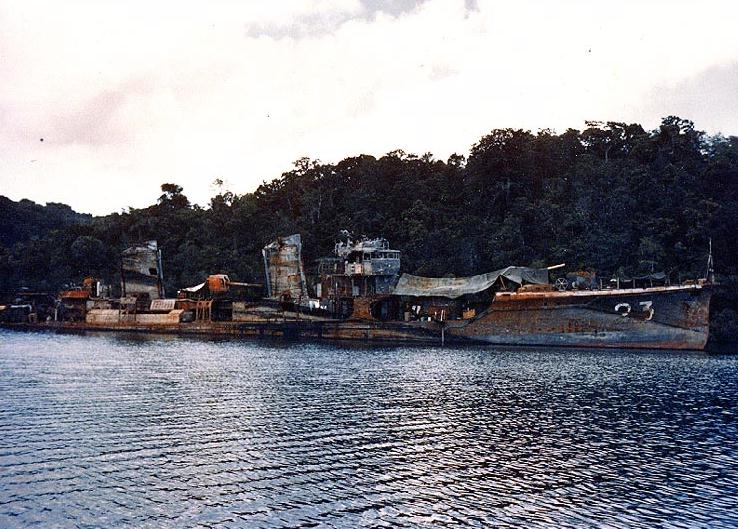 salvaged Jap destroyer at Tulagi 1944