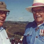 THAYER SOULE (1ST MD PHOTO OFFICER) AND MARTIN CLEMENS ON GUADALCANAL IN 1992 FOR THE 50TH ANNIVERSARY.